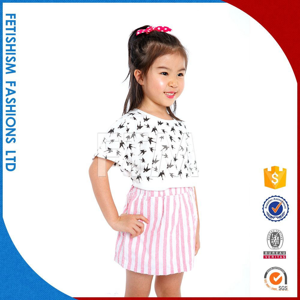 Fashion summer casual woven baby girls summer dresses for kids
