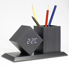KH-WC010 KING HEIGHT Custom Decor Wholesale Multi Purpose Wooden Pen Holder With Clock