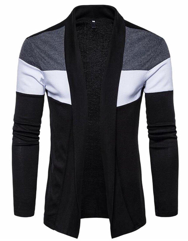 WSPLYSPJY Men Long Sleeve V Neck Slim Fit Fine Cotton Shirt Cardigan