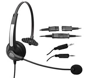 Voistek Corded Monaural Call Center Telephone Headset Noise Cancelling Headphone with Mic Complete with PLT(28959-01) Compatible Quick Disconnect Cord with Dual 3.5mm Audio Plug, Headset to PC Sound Cards VOIP Adapter Cable (S10NP35DMM)