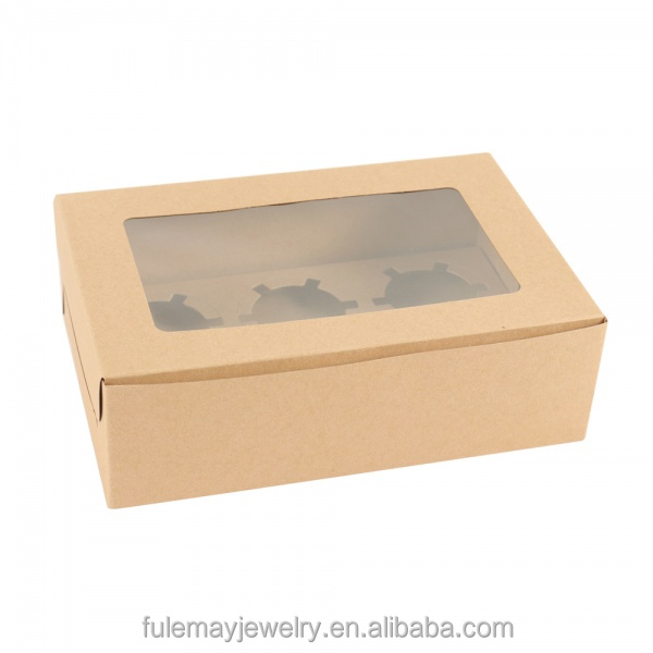 Custom kraft cupcake boxes with clear lid for cupcake packaging