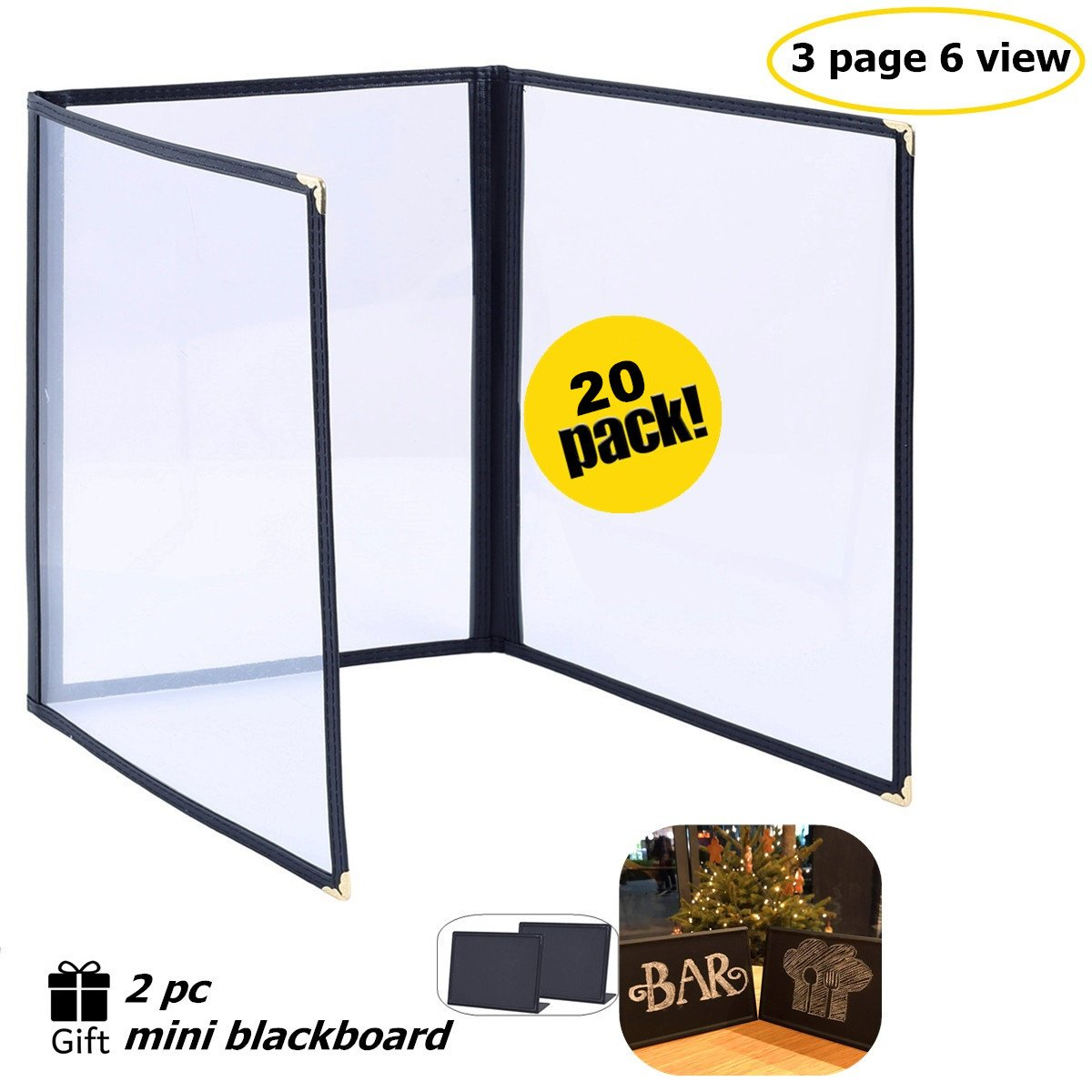 See More Interior Album-Style Corners Type MenuCoverMan in  Search. Waterfall Edge 6-View Case of 5 Cascade Casebound Menu Covers #8073 Black Quad Panel 8.5 Wide x 11 Tall