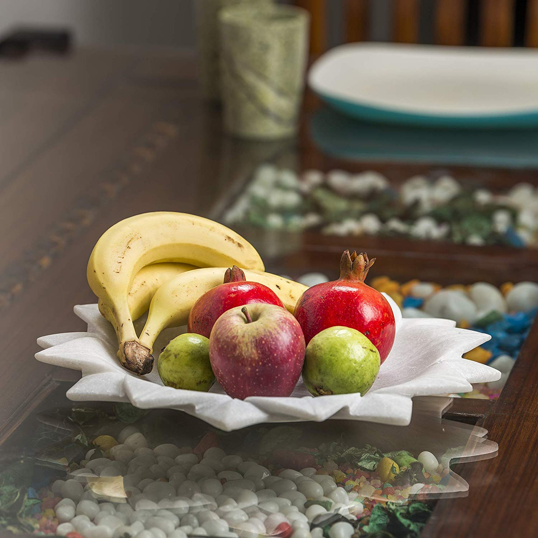 Marble White Bowl / Plate12 inch Large HandCarved Household Multi- Utility Flower Shape    Serving Bowl    Decorative Bowl    Home Decor    Kitchen Decor    Garden Decor    Fruit Bowl    Festive Decor