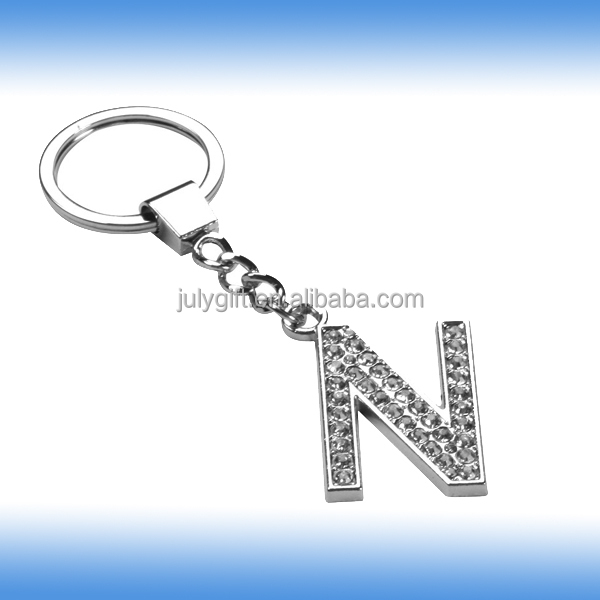 custom metal letter n keychain with diamond