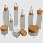 Cosmetic jars and bottles packaging,bamboo lid cosmetic packaging