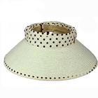 beach girl dotted fashion sun visor hat foldable packable roll up hat for lady paper straw hat