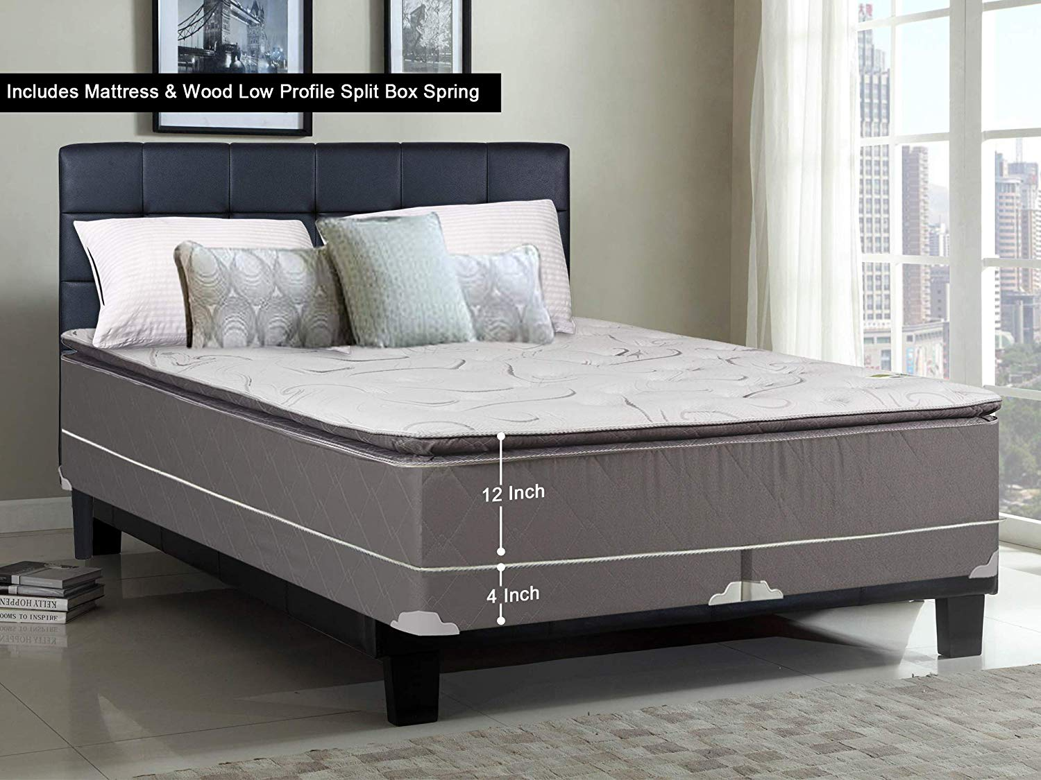 Greaton 9040v-6/0-2LP Fully Assembled Soft Pillow Top Innerspring Mattress and 4-inch Wood Box Spring/Foundation Set |California King Size| Mink, Color