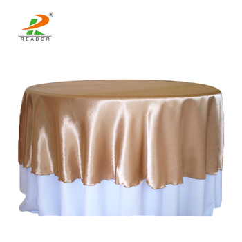 Delicieux Wholesale China Supplier Cheap Seamless Fancy Satin Round Wedding Table  Cloth Overlays For Party Banquet