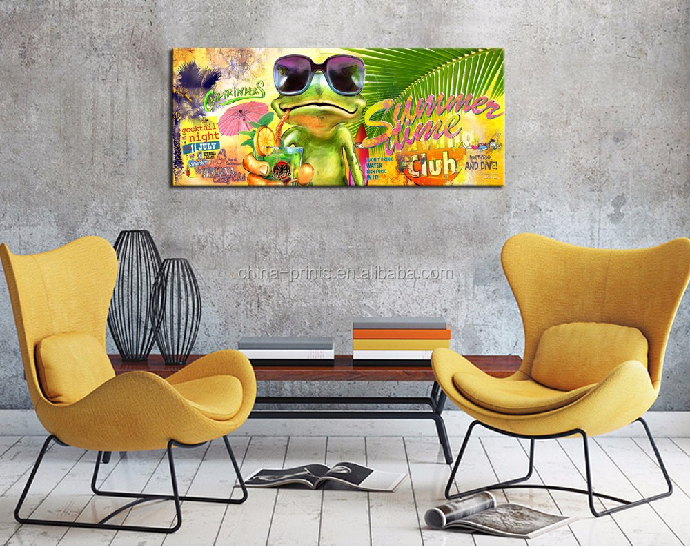 Cartoon Frog Wall Art Modern Home Decoration Hawaii Summer Canvas Prin...