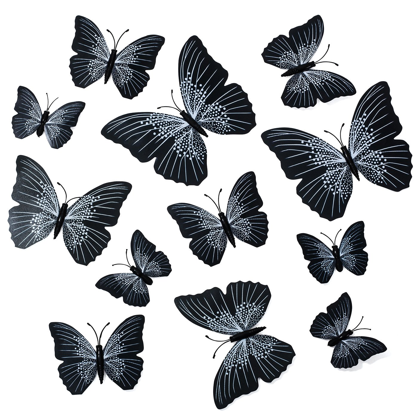 Butterfly Wall Decals - Butterfly Wall Stickers - 3D Butterfly Wall Stickers - Butterfly Wall Art - Wall Decals for Bedroom - Teen Room Decor - Black Butterfly Wall Stickers (12 pcs) by Dooboe