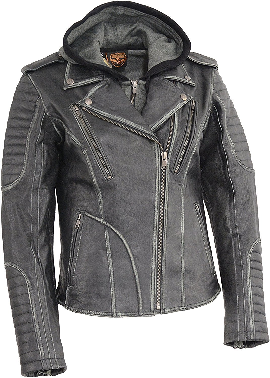 f034fff25d6683 Get Quotations · Milwaukee Leather Women s Rub-Off Leather M C Jacket w Removable  Full Hoodie