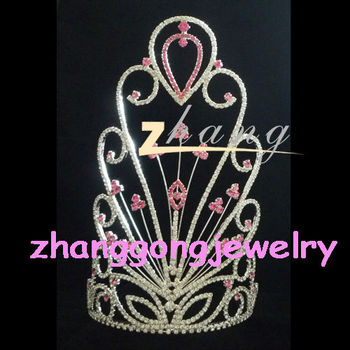 Large Beautiful Red Carnival Real Diamond Princess Pageant