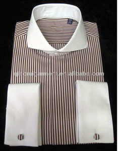 Mens contrasting white cutaway collar and french cuff dress shirt