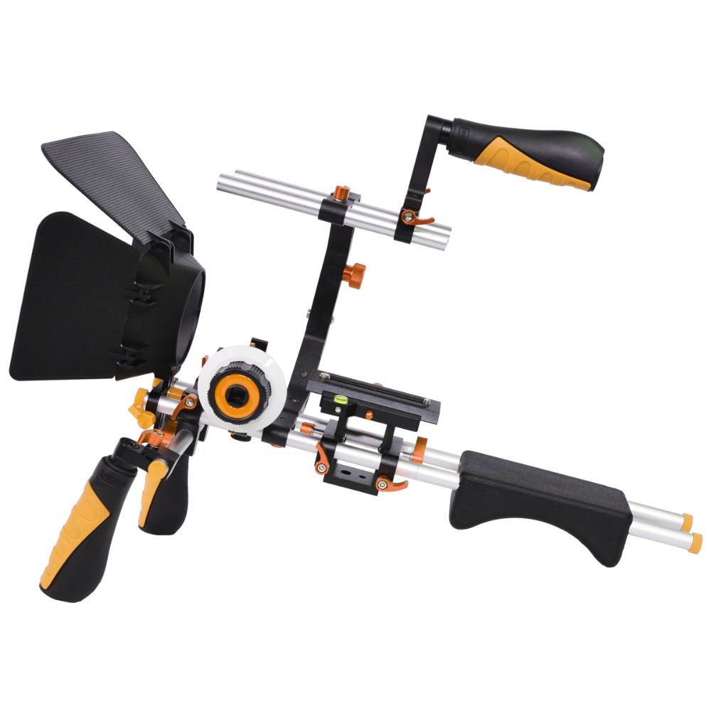 YELANGU D230 Video Camera Shoulder Rig Camera Bracket Kit With Shoulder Rig+C -Shape cage+Follow Focus+Matte Box