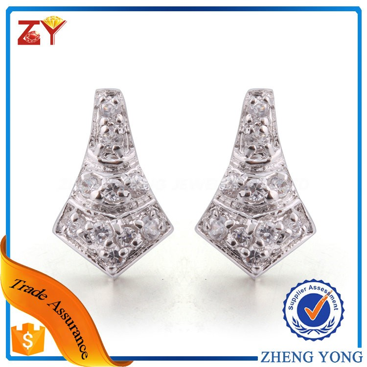 925 Sterling Silver Pave Setting CZ Earrings Fancy CZ Stick Earrings