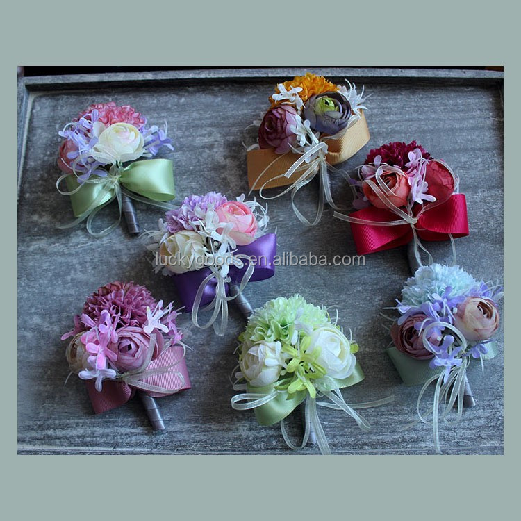 LBF026 elegant Korean style wedding corsage with gold pins