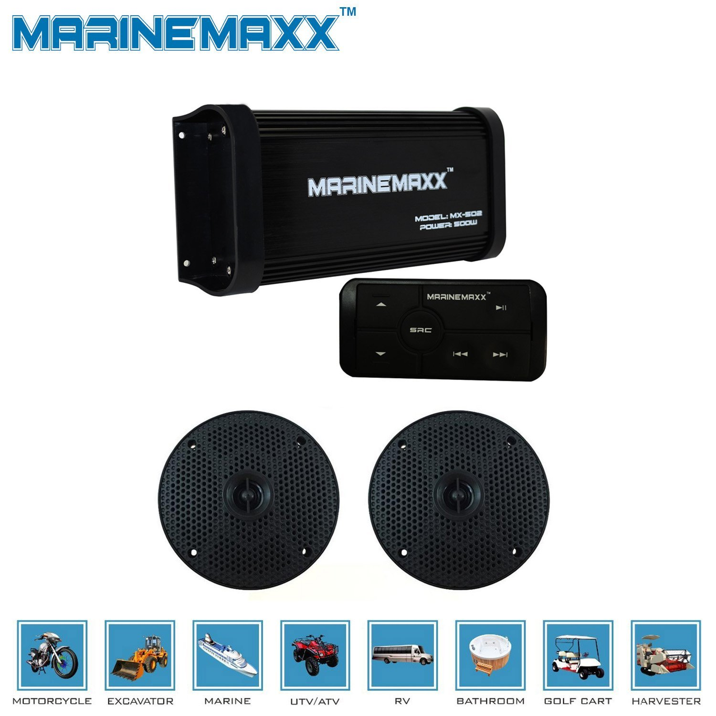 "MarineMaxx 500 Watts 4-Channel Boat ATV UTV Marine Bluetooth Amplifier Marine Stereo AUX In RCA Out+4"" Waterproof Marine Speakers Black"