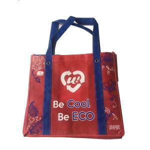 Gold laminated pu logo pasted metallic non woven bag