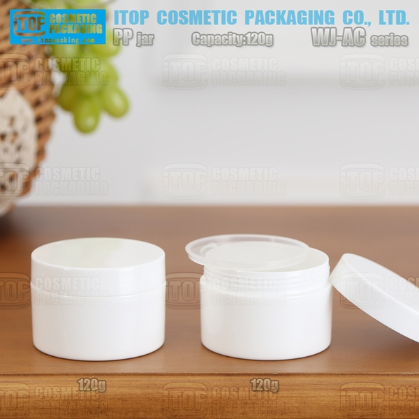 WJ-AC120 120g good quality wholesale single layer color injection glossy finish round white pp cream jar