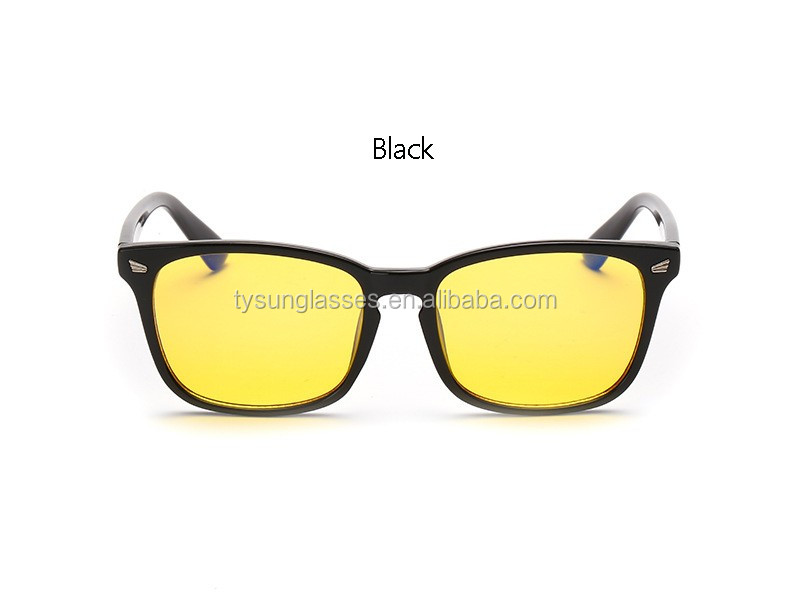 Acetate Frame Square Yellow lenses Glasses Anti-Reflective Radiation Blue light Men Women Eye Protect Night Vision Driving