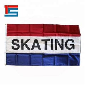 Custom Polyester Red White Blue 5' x 8' Skating Message Flags