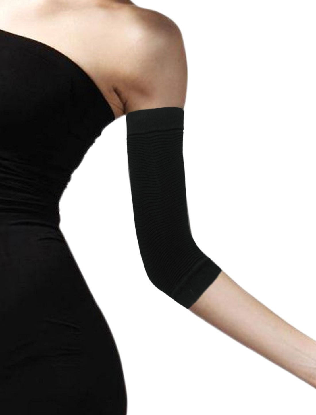 9b6546470e Get Quotations · uxcell Women Zig Zag Design Stretchy Compression Arm  Sleeves Black