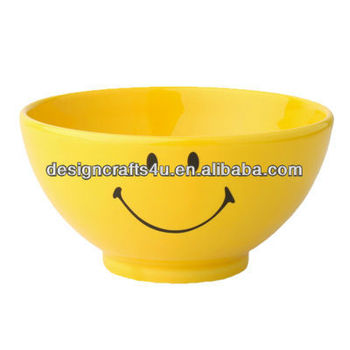 Ceramic Cute Smiling Face Cereal Bowl