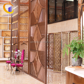 Hotel Decor Metal Hanging Indoor Room Divider Screen Decorative Stainless Steel Panel Partition