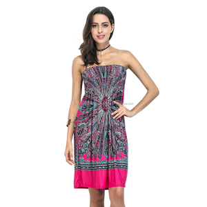 newest summer hot sale african designs batik damask beach short tube dress