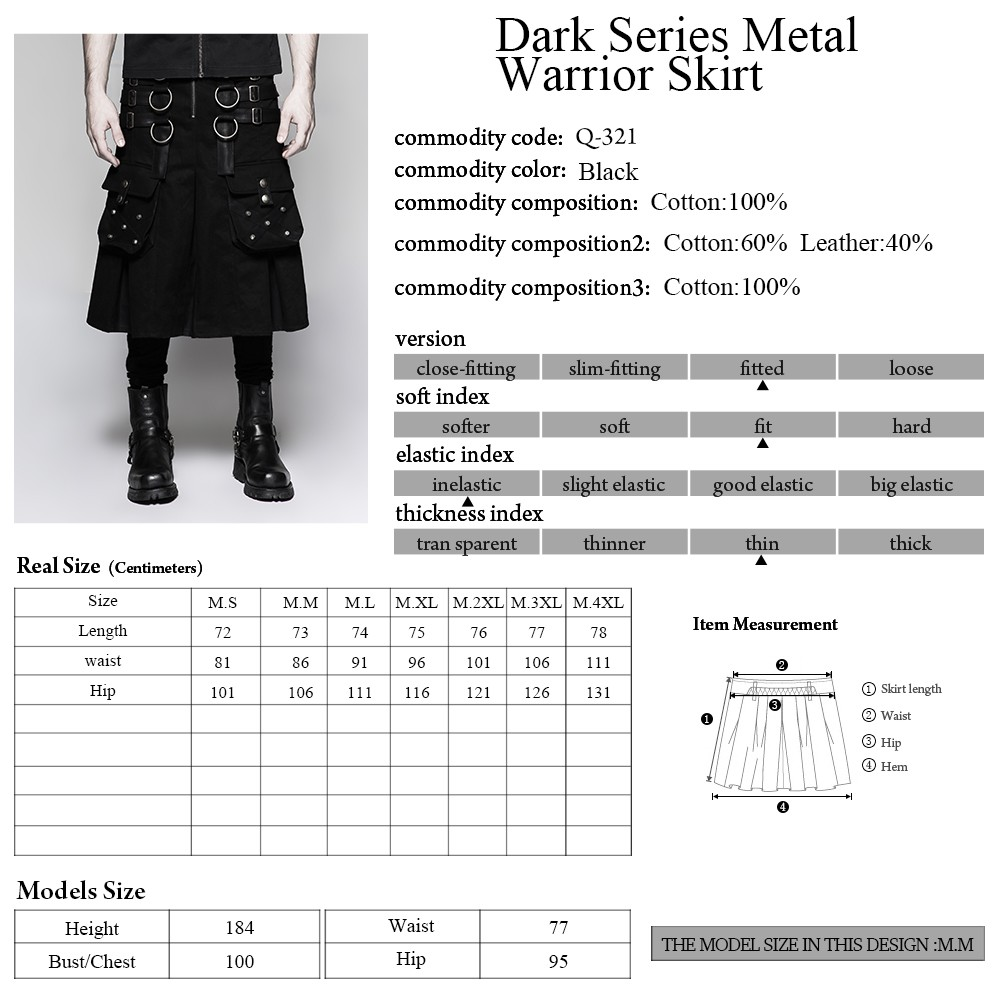 Q-321 Designer Punk Rave big pockets men's kilts metallic middle skirts