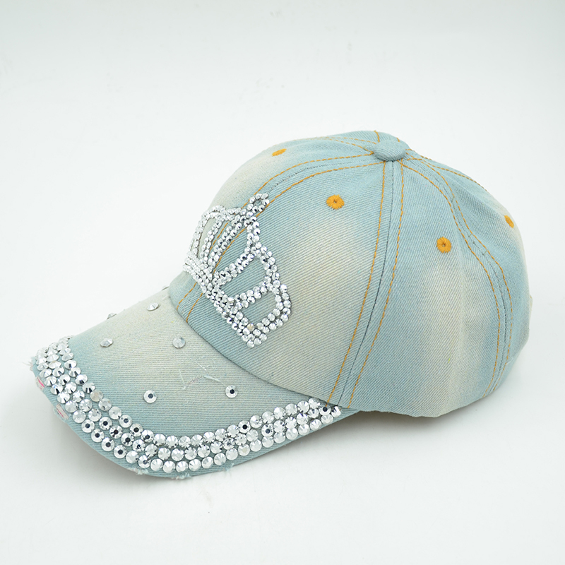 Хлопок императорская корона бейсбол регулируемый горный хрусталь свободного покроя кепка женщины шляпа