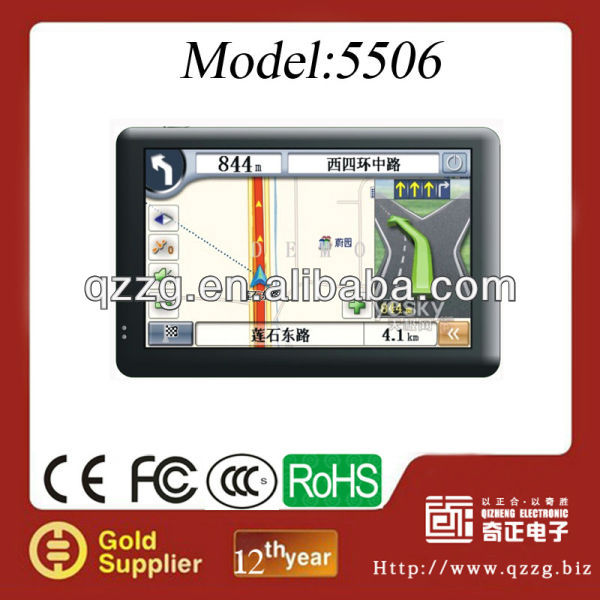 2013 new portable 5 inch gps navigator with free map with BT FM+AV IN MAP with 128M SDRAM and 4G memory