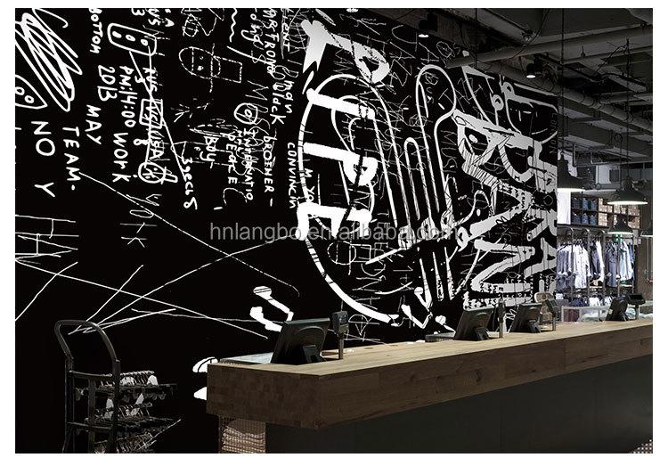 Retro Hitam Putih Surat Graffiti 3D Kartun Wallpaper