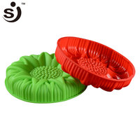 Beautiful Design Big Flower Shape 3D 100% Novelty Silicone Cake Mould For Cake