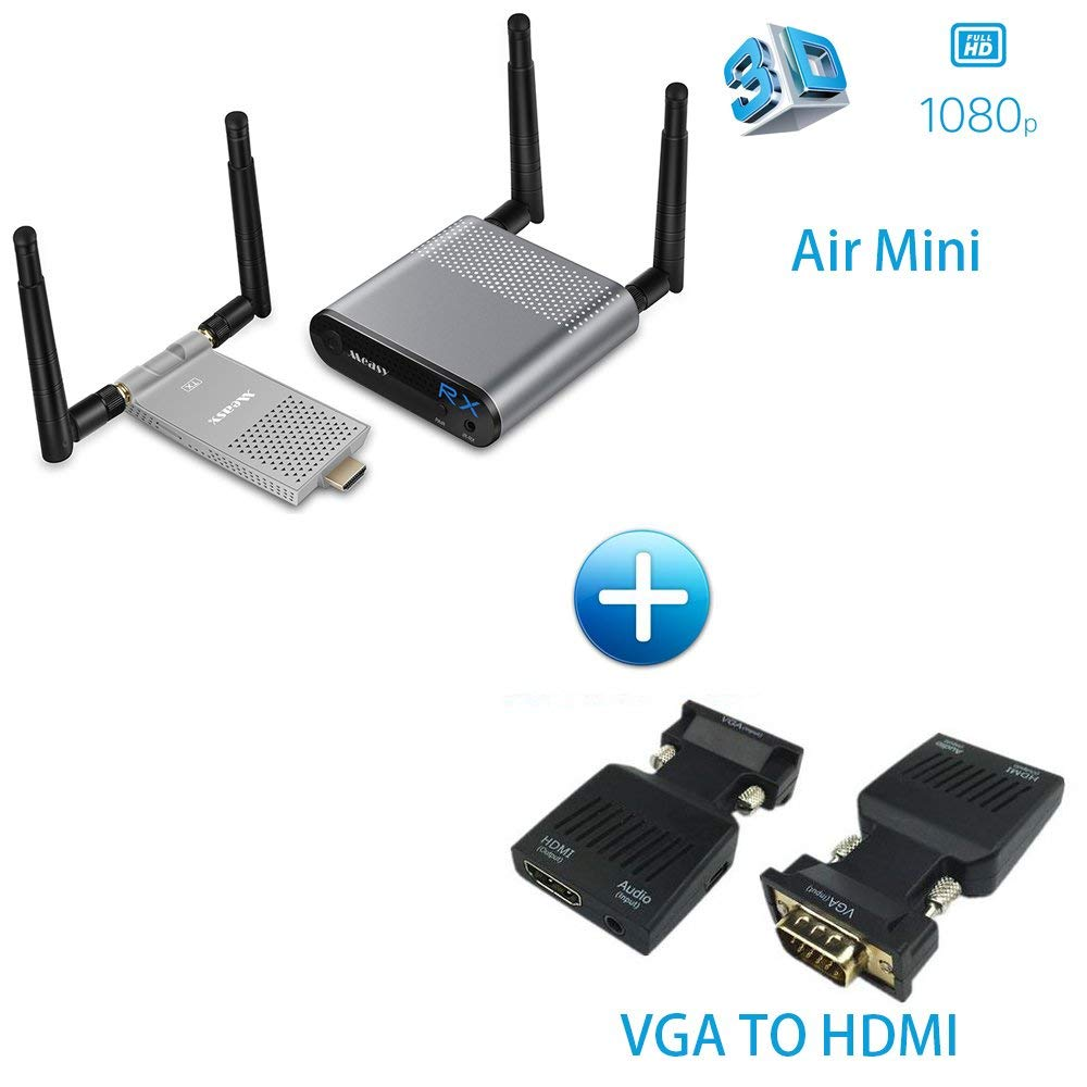 5.8GHz 200M/656ft Wireless HDMI Transmitter Receiver HDMI Wireless Video Transmission Kit 1080P HDMI Extender for tv/projector VGA TO HDMI