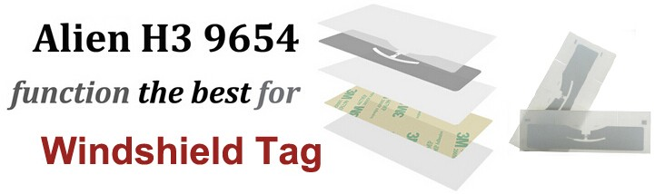 High quality UHF RFID windshield tag with 860~960Mhz EPC GEN2 for long range 10m be used to car wash and parking