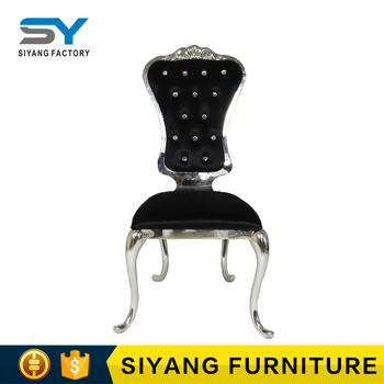 Import furniture from china stainless steel chair legs velvet black dining chair CY026