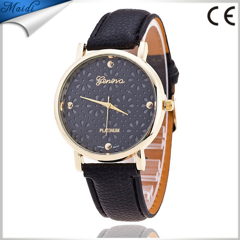 Free Shipping <strong>Hot</strong>! Dress Fashion Flower Reloj Leather Band Quartz Watches Retro Lady Wristwatch Geneva Floral GW032