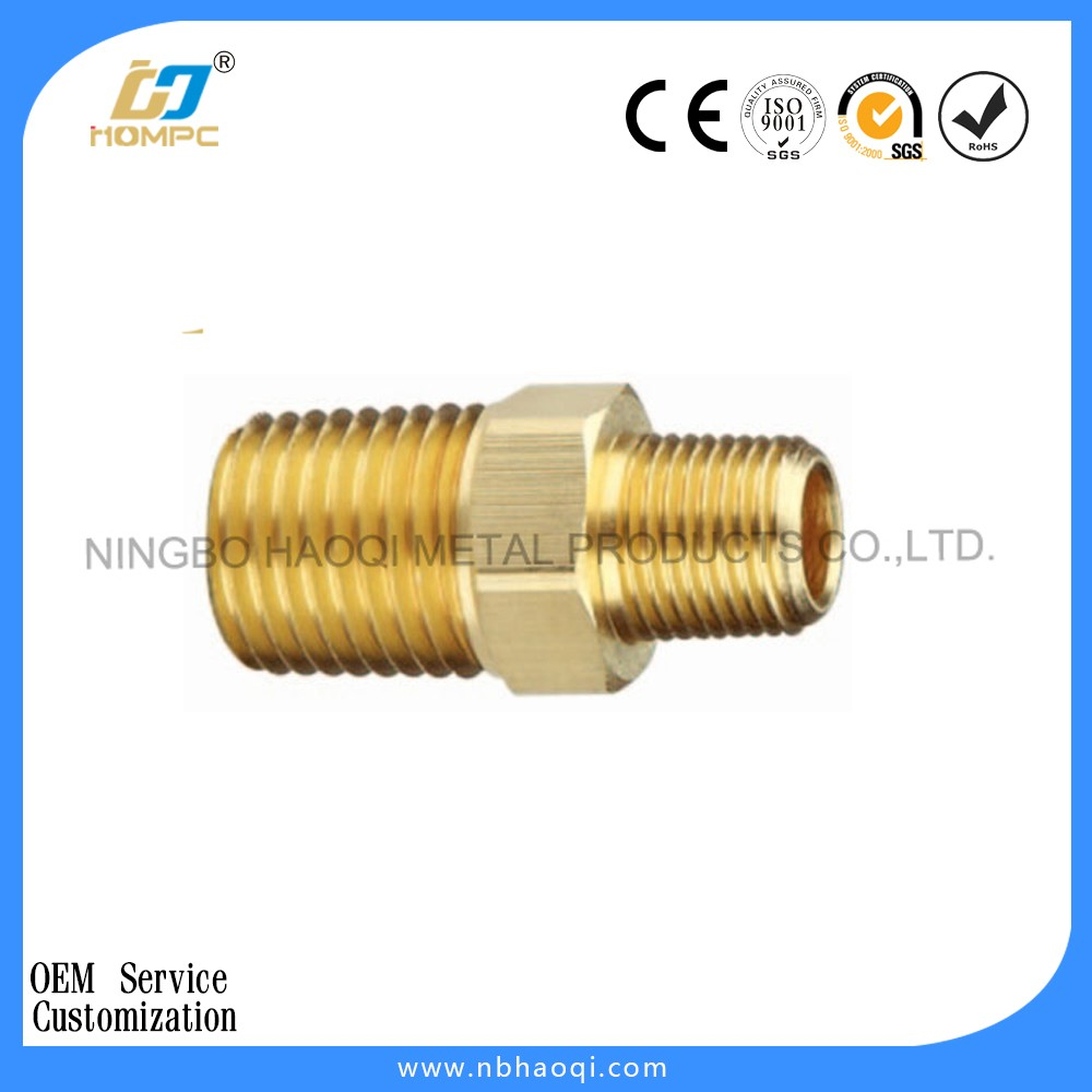Brass hex nipple tube fitting male nipple/copper fitting
