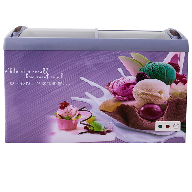150L 200L 400L commercial ice cream counter refrigerator chest freezer display