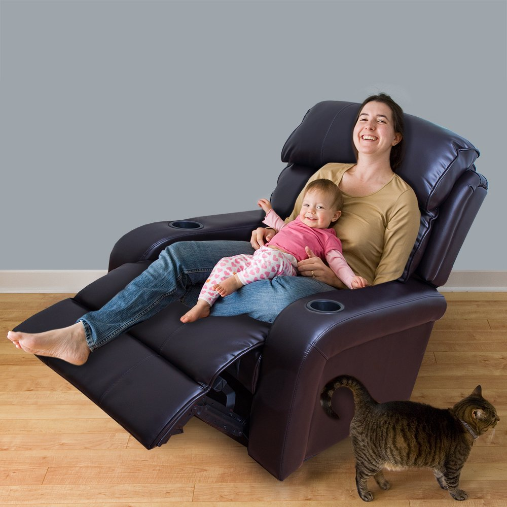 Bonded Leather Motor Power Recliner (Dark Brown)