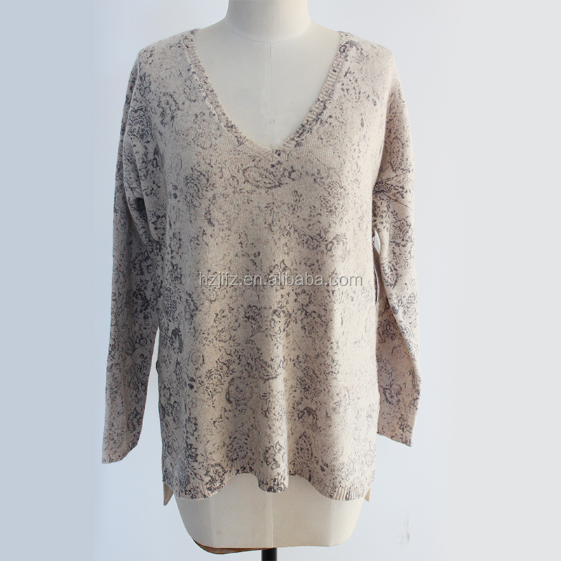 Ladies Yak Cashmere blended Deep V-neck sweater pullover with print