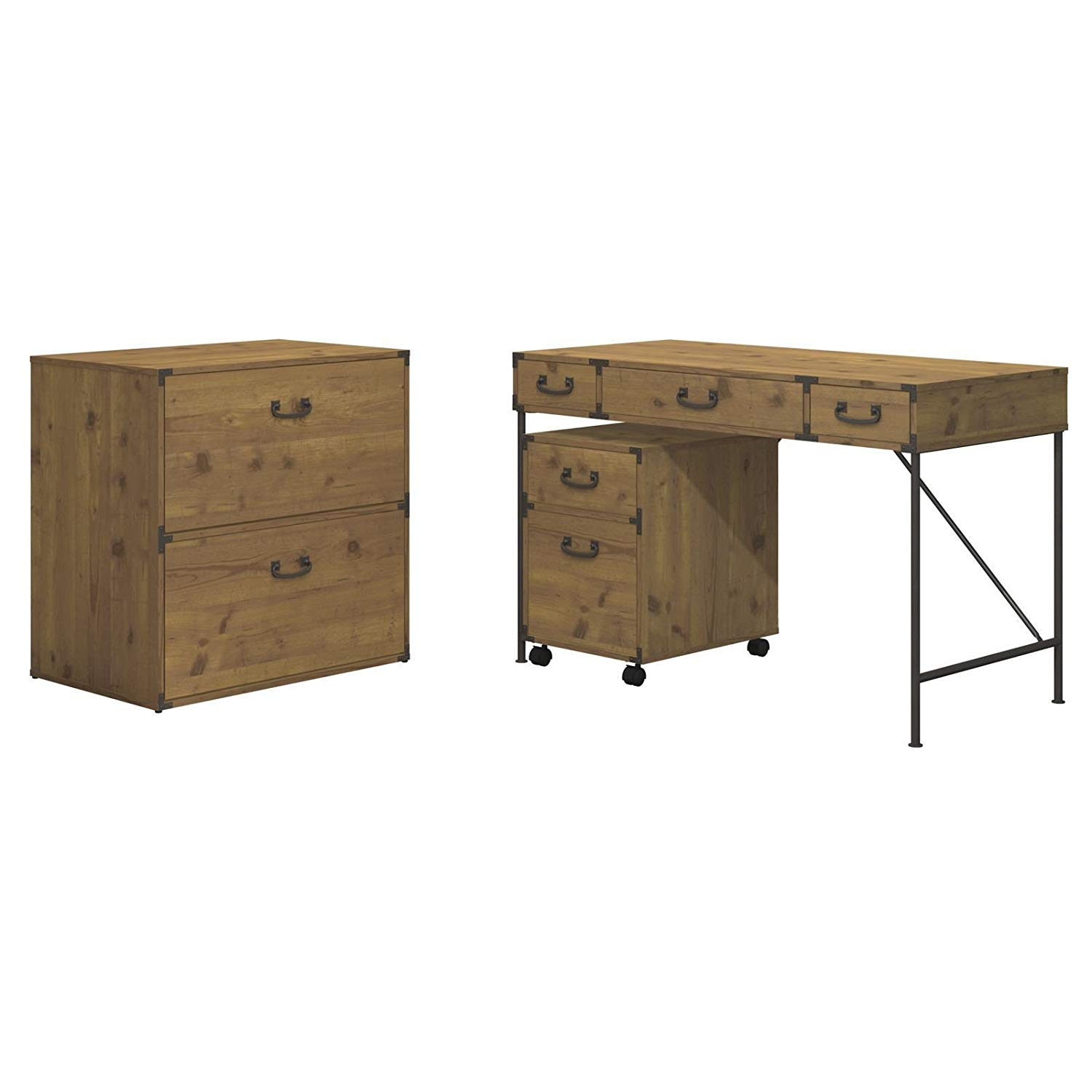 MyEasyShopping Office Ironworks 48W Writing Desk, 2 Drawer Mobile Pedestal, and Lateral File Cabinet Lateral Cabinet Desk File Drawer Filing