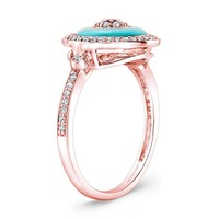 Turkey fashion jewelry rose gold evil eye ring with sterling silver cz gemstone