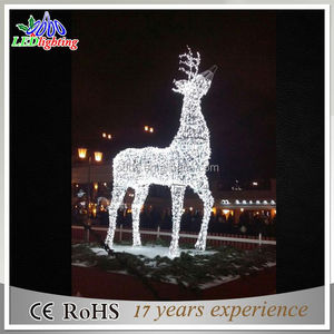 Led reindeer and sleigh decoration Battery Operated UFO Mobile with 3pcs reindeer LED lights Christmas Reindeer Light