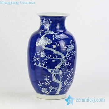 Rywg12 Hand Paint Winter Sweet Pattern Wax Gourd Shape Elegant Blue