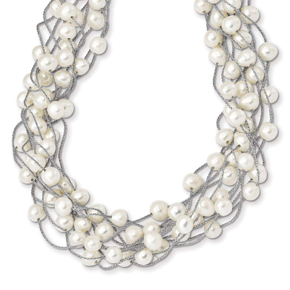 Solid 925 Sterling Silver RH 6-8mm White FWC Simulated Pearl Multi-strand Necklace - with Secure Lobster Lock Clasp