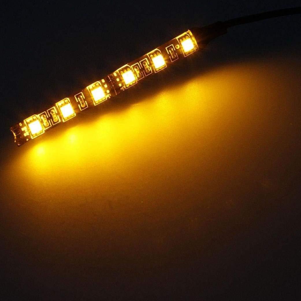Glumes Universal 2pc 6LED Motorcycle Bike Amber LED Mini Strip Black Turn Signal Indicator Blinker with Total 12 Led (Amber)