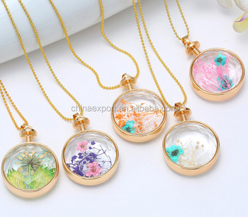 Wholesale golden real dried flower floating charm locket pendant wholesale golden real dried flower floating charm locket pendant necklace mozeypictures Images