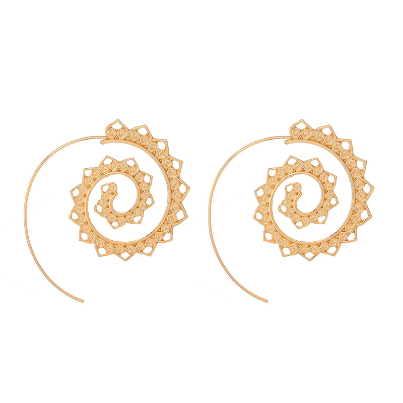 Vintage Tribal Style Rotating Statement Earrings Antique Gold Plated Spiral Stud Earrings